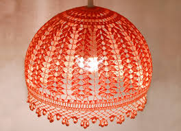 lampshade pendant light hanging lamp crochet chandelier bedroom light