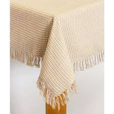 homespun fringed 70 in round ecru 100 cotton tablecloth
