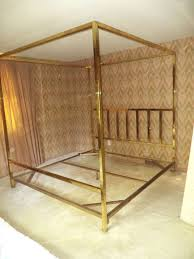 King Size Brass Four Poster Canopy Bed by Pace at 1stdibs
