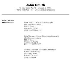 Sample Reference List For Job Reference Example For Resume Sample Resume Samples