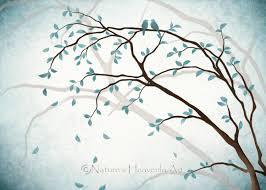 romantic love bird wall art 5 x 7 print nature inspired blue regarding newest tree branch on nature inspired wall art with showing gallery of tree branch wall art view 13 of 20 photos