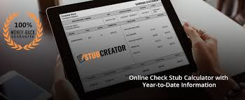 Check Stub Calculator Online Check Stub Calculator With Year To Date Information Stub