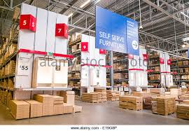 warehouse area of ikea furniture store england uk e19g8p