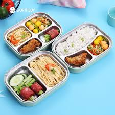 WORTHBUY 304 Stainless Steel Japanese Lunch Box With Compartments Microwave Bento For Kids School Picnic Food Container