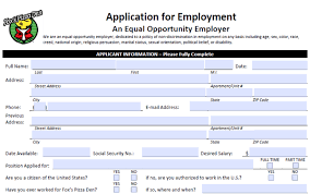 filling out applications fox s pizza application pdf print out