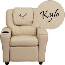 personalized beige vinyl kids recliner with cup holder and headrest dg ult kid bge emb gg