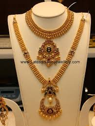 Gold Necklace And Haram Set Designs Chandbali Pendant Antique Haram Set Gold Jewellery Design