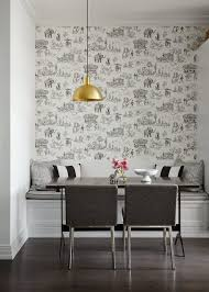 black and white kitchen wallpaper toile transitional chicago with contemporary chandeliers