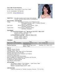 Sample Resume For Teacher In The Philippines Resume Ixiplay Free