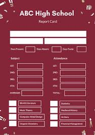 Dark Red Tribal Pattern High School Report Card Templates By Canva