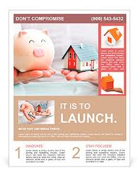 mortgage flyers templates hands holding a piggy bank and a house model housing industry
