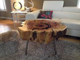 Sliced Log Coffee Table Tree Trunk Table With Metal Legs Wood Coffee Table With Hairpin