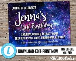 Editable Modern Galaxy Birthday Party Invitation Printable Template Galactic Outer Space Invite Planet Digital Instant Download Templett
