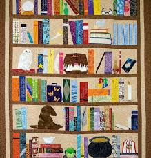Book Quilts: An Inspiring Collection for Those with Literary Leanings & Quilt Featuring Bookshelf Stacked with Books and Other Objects Adamdwight.com