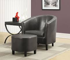 Leather Accent Chair With Ottoman Small Side Table In Living Room And Black Leather Accent Chair