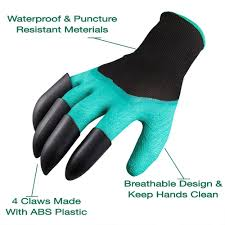 garden genie gloves with claws quick and easy to dig and plant safe for gardening