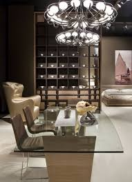 brushed nickel chandelier square glass dining table chipboard tables foot brown leather dining chair ceiling spotlight