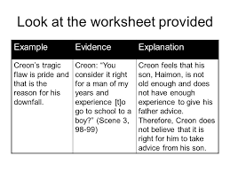 antigone essay ppt video online  11 look at the worksheet provided example evidence explanation creon s tragic flaw
