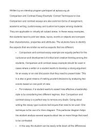 comparison contrast essay examples template ideas for compare  gallery of example of contrast essay