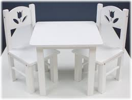 18 Doll Furniture Wood Table Chairs Set 18 White Floral Fits