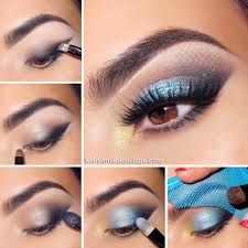 turquoise and violet makeup idea