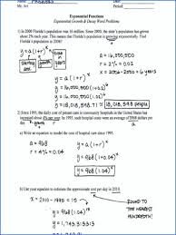exponential word problems worksheet growth and decay worksheets with answers