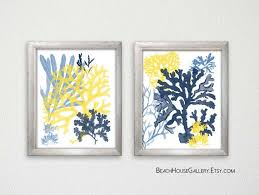 navy yellow wall art navy c on