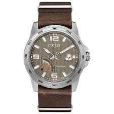mens power reserve eco drive brown leather strap watch aw7039 01h