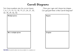 Math Venn Diagram Worksheet Caroll And Venn Diagrams Ks2 Teaching Resources And Printables