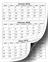 month template 2018 printable 2018 calendar three months per page