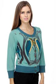 Knitted Dove Birds Of A Feather Print Blue Sweater
