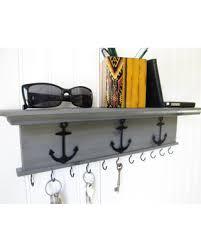 Key Holder Wall Shelf Rustic Wood Handmade Wall Mounted 18 inch with  Nautical Boat Anchors Gray