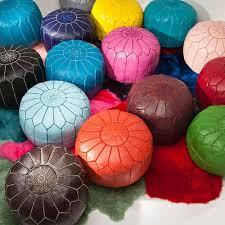 moroccan leather pouf ottoman  mymoroccanbazar  est