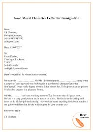 Character Reference Letter For Immigration Sample Example
