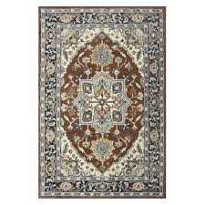 rust colored area rugs allen roth brookford rust blue rectangular indoor handcrafted area rug common 5