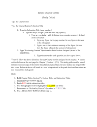 Sample Chapter Outline Study Guide Type The Chapter Title Type