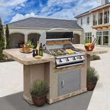 4 burner stainless steel propane grill island with 27 in access door