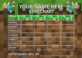 Minecraft Star Chart Childrens Behaviour Chart Reward Star Chart Includes