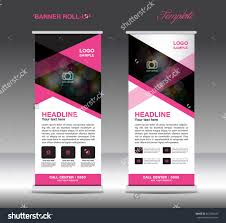 roll up banner template stand design advertisement flyer pink and white roll up banner template vector standy design display advertisement flyer