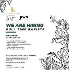 Lowongan Kerja Barista Janji Jiwa Danau Sunter Gibran Waluyo Di Penjaringan Jakarta Utara 8 Jan 2020 Loker Atmago Warga Bantu Warga