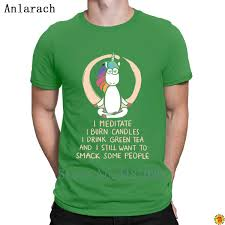 Meditate Burn Candles Drink Green Tea Unicore T Shirts S 3xl Design Summer Mens Tshirt Clothes Cute Newest Tee Shirt Awesome T Shirs T Shirst From