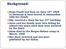 the diary of anne frank unit 15 background anne frank