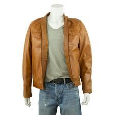 Light Brown Leather Jacket Mens 100 Real Leather Lld Original Tan Leather Jacket For Men Bike Rock Style