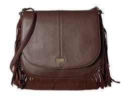 lauren ralph lauren cobden brown leather fringe saddle bag purse cross nwt