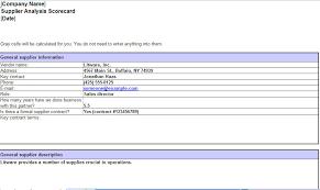 Supplier Scorecard Excel Template Supplier Scorecard