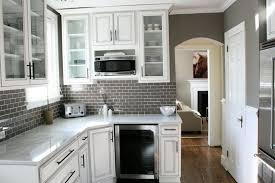 simple gray tile backsplash white