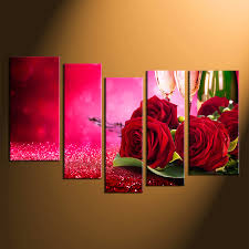 5 piece large canvas red rose group canvas champagne canvas wall art home on red rose canvas wall art with 5 piece large pictures champagne multi panel art red rose artwork