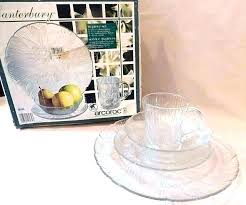 clear glass dish set dinnerware sets lead free piece crocus plate made in usa s glass dinnerware clear plate set