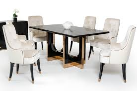 Black Crocodile Textured Top And Rose Gold Base Dining Table San