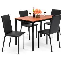 best choice products 5 piece rectangle dining table home furniture set w 4 faux